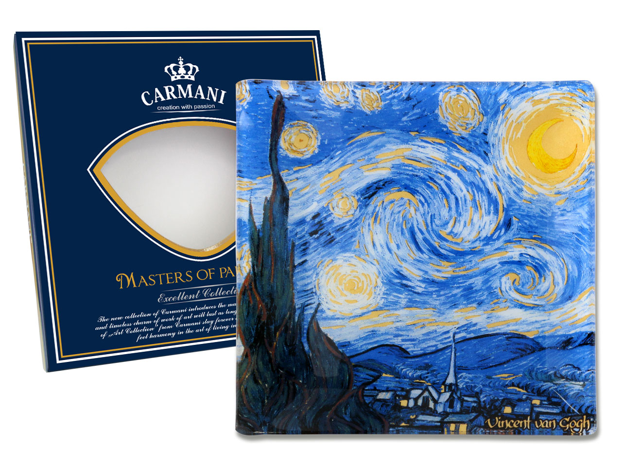 Sklenený tanier 13x13cm Vincent van GOGH The Starry Night, CARMANI