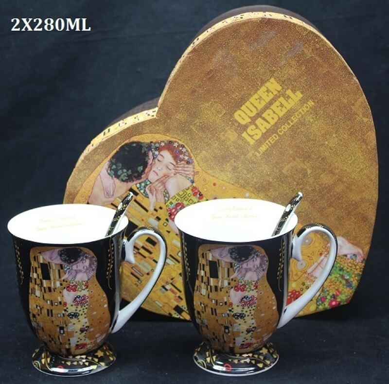 Set 2 ks hrnčekov 280 ml Gustav Klimt  The Kiss, Queen Isabell