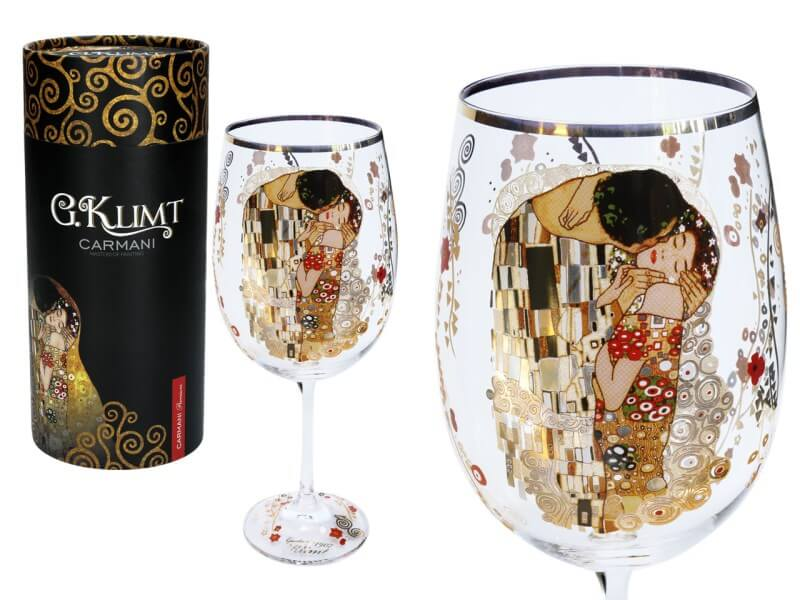 Sklenený kalich 600 ml Gustav  Klimt The Kiss, CARMANI