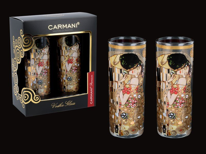 Sklenený štamperlík 60 ml - set 2 ks Gustav Klimt The Kiss, CARMANI 8413121