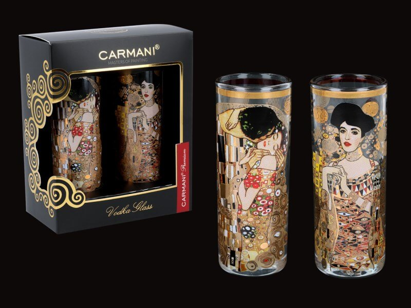 Sklenený štamperlík 60 ml - set 2 ks Gustav Klimt  CARMANI 8413122