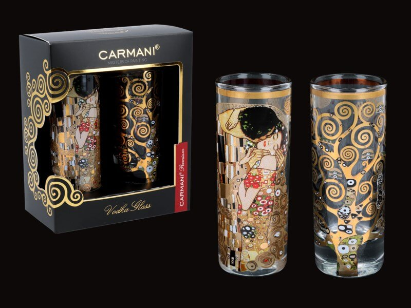 Sklenený štamperlík 60 ml - set 2 ks Gustav Klimt  CARMANI 8413124