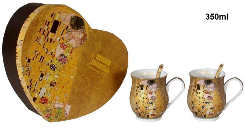 Set 2 ks hrnčekov 350 ml Gustav Klimt  The Kiss, Queen Isabell, 24073