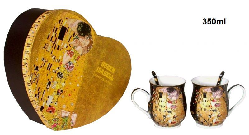 Set 2 ks hrnčekov 350 ml Gustav Klimt  The Kiss, Queen Isabell, 24189