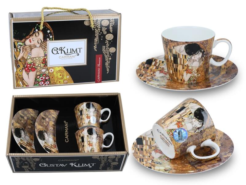 Set 2 ks mocca šálok 100 ml Gustav Klimt The Kiss, CARMANI, 5320301N