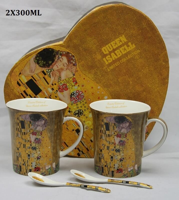 Set 2 ks hrnčekov 300 ml Gustav Klimt  The Kiss, Queen Isabell, 21065