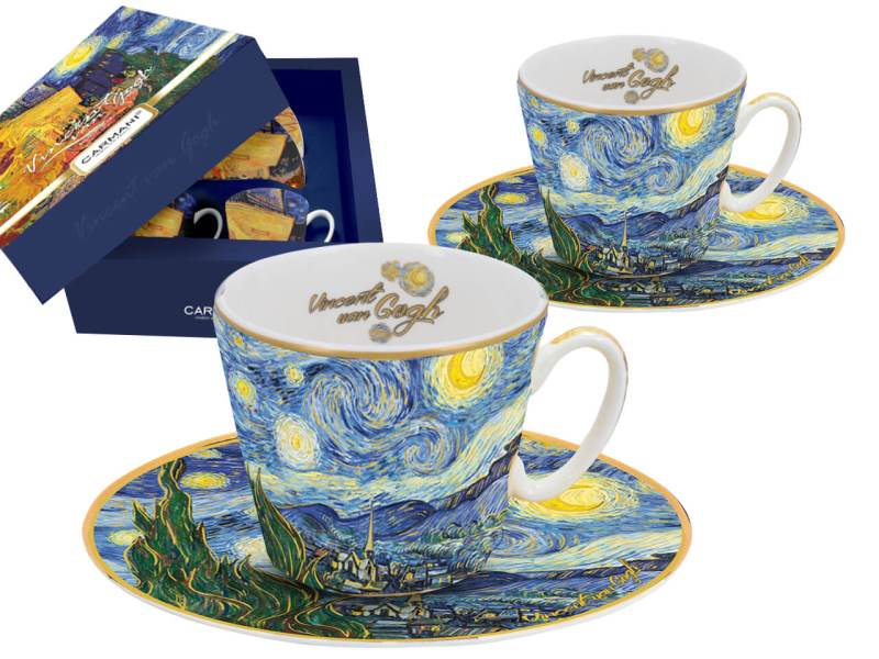 Šálka s podšálkou 125 ml - set 2 ks  Vincent van Gogh The Starry Night, CARMANI  8300700