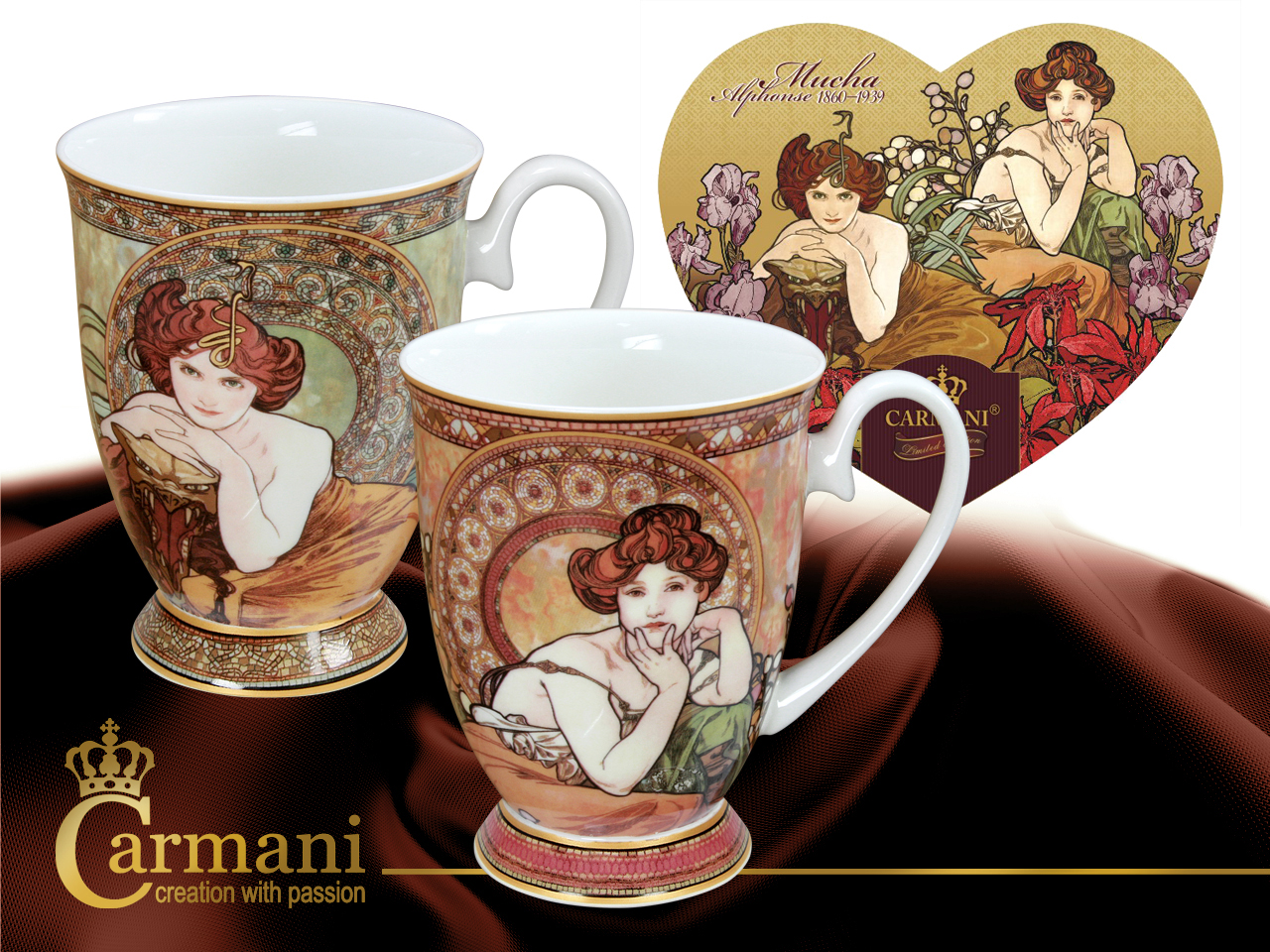 Set 2 ks hrnčekov  300 ml Alfons Mucha, CARMANI